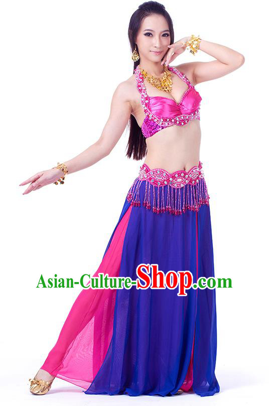 Traditional Indian Belly Dance Blue and Rosy Dress India Oriental Dance Clothing for Women