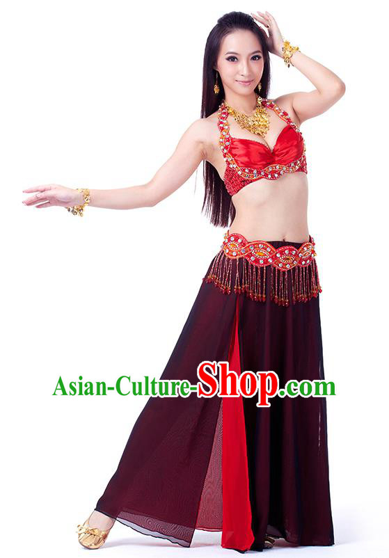 Traditional Indian Belly Dance Red and Black Dress India Oriental Dance Clothing for Women