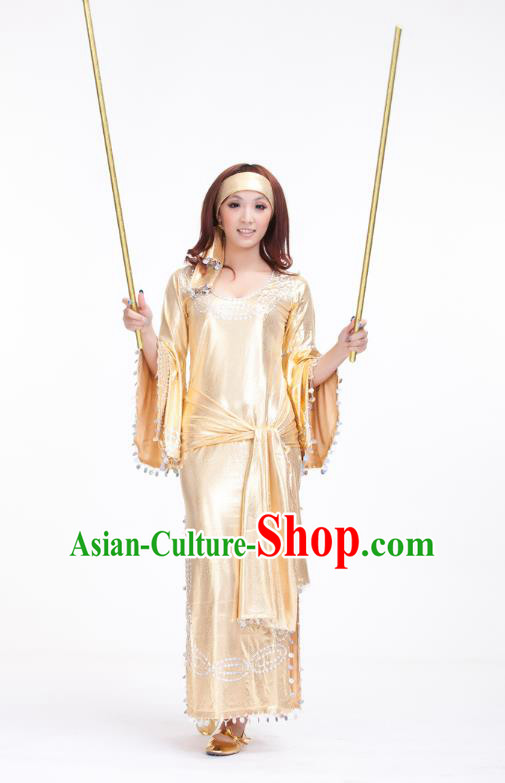 Traditional Romany Performance Golden Dress Oriental Dance Belly Dance Costume for Women