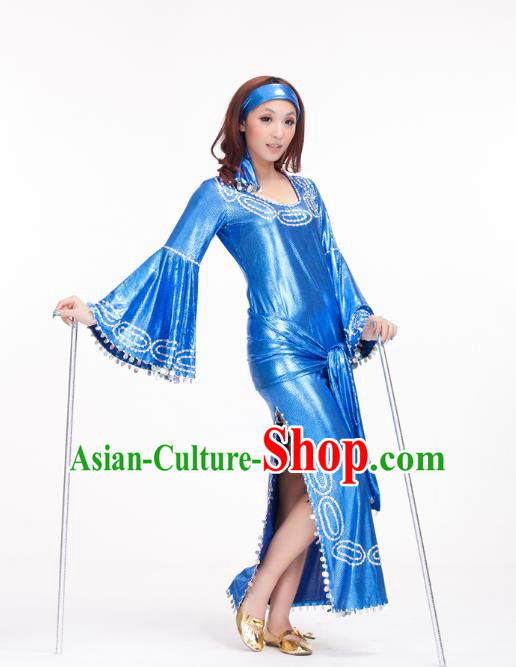 Traditional Romany Performance Blue Dress Oriental Dance Belly Dance Costume for Women