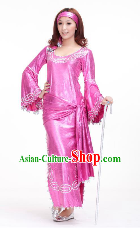 Traditional Romany Performance Pink Dress Oriental Dance Belly Dance Costume for Women