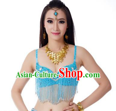 Indian Belly Dance Crystal Blue Brassiere Asian India Oriental Dance Costume for Women