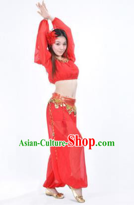 Traditional Bollywood Dance Performance Red Clothing Indian Dance Belly Dance Costume for Women