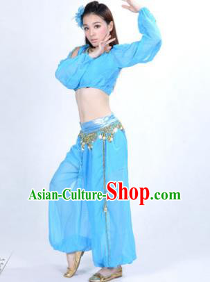 Traditional Bollywood Dance Performance Blue Clothing Indian Dance Belly Dance Costume for Women