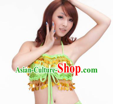 Indian Belly Dance Light Green Garter Brassiere Asian India Oriental Dance Costume for Women