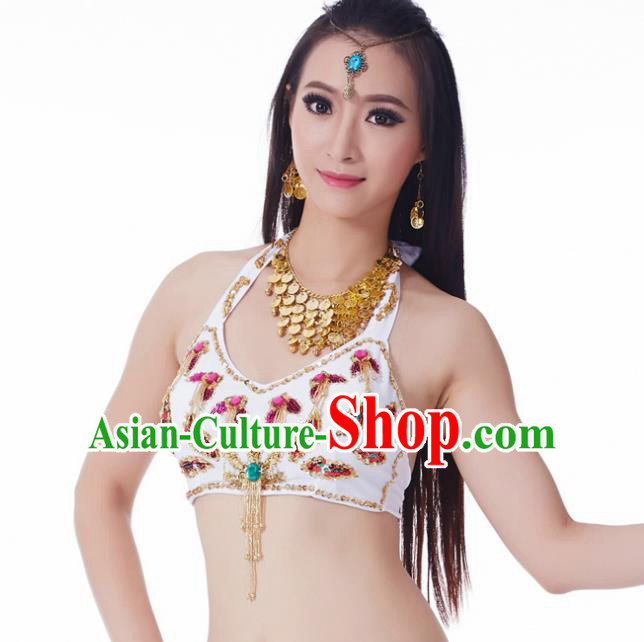 Indian Belly Dance White Brassiere Upper Outer Garment Asian India Oriental Dance Costume for Women