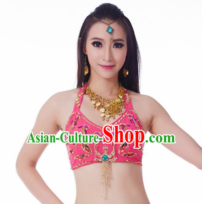 Indian Belly Dance Rosy Brassiere Upper Outer Garment Asian India Oriental Dance Costume for Women