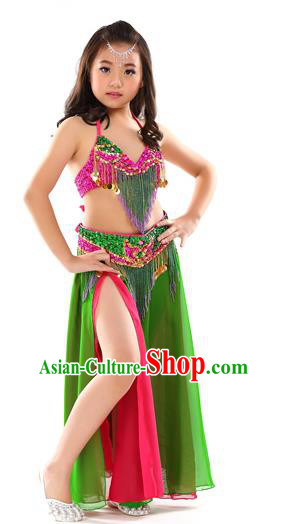 Traditional Children Bollywood Dance Green Dress Indian Dance Belly Dance Costume for Kids