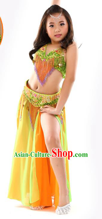 Traditional Children Bollywood Dance Yellow Dress Indian Dance Belly Dance Costume for Kids