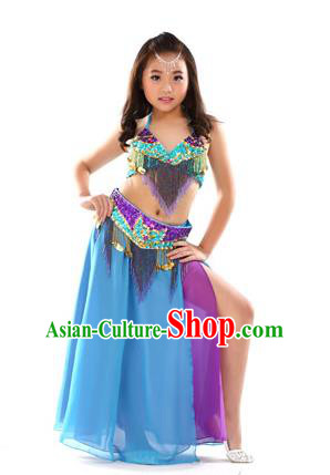 Traditional Children Bollywood Dance Blue Dress Indian Dance Belly Dance Costume for Kids