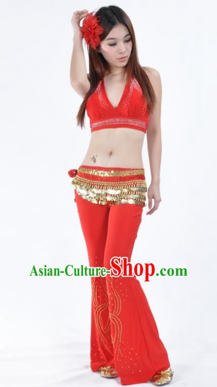 Traditional Performance Bollywood Dance Red Uniforms Indian Belly Dance Costume for Women