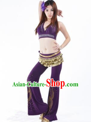 Traditional Performance Bollywood Dance Purple Uniforms Indian Belly Dance Costume for Women