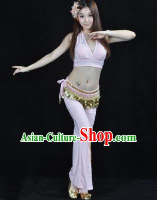 Traditional Performance Bollywood Dance Pink Uniforms Indian Belly Dance Costume for Women