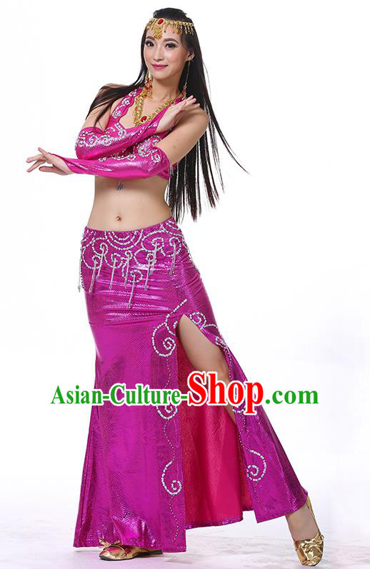 Traditional Oriental Dance Performance Rosy Dress Indian Belly Dance Costume for Women
