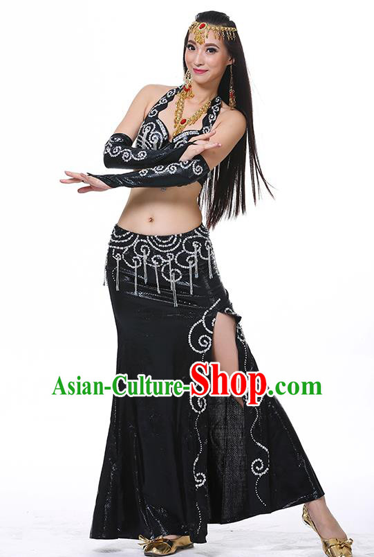 Traditional Oriental Dance Performance Black Dress Indian Belly Dance Costume for Women