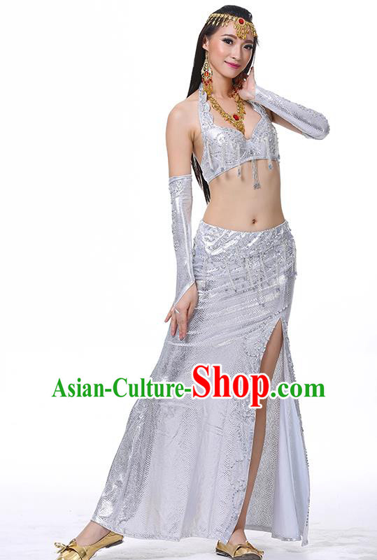 Traditional Oriental Dance Performance White Dress Indian Belly Dance Costume for Women