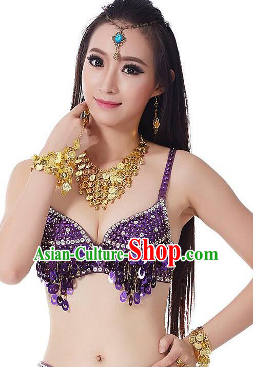 Indian Bollywood Belly Dance Purple Sequin Brassiere Asian India Oriental Dance Costume for Women
