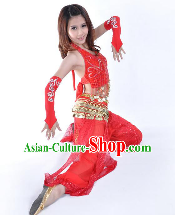 Traditional Indian Stage Performance Red Uniforms Oriental Belly Dance Costume for Women