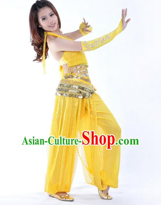 Traditional Indian Stage Performance Yellow Uniforms Oriental Belly Dance Costume for Women