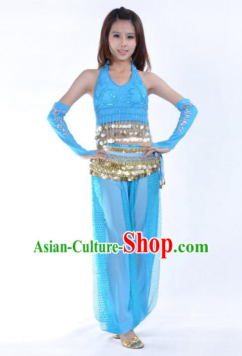 Traditional Indian Stage Performance Blue Uniforms Oriental Belly Dance Costume for Women