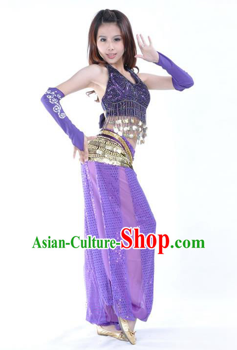 Traditional Indian Stage Performance Purple Uniforms Oriental Belly Dance Costume for Women