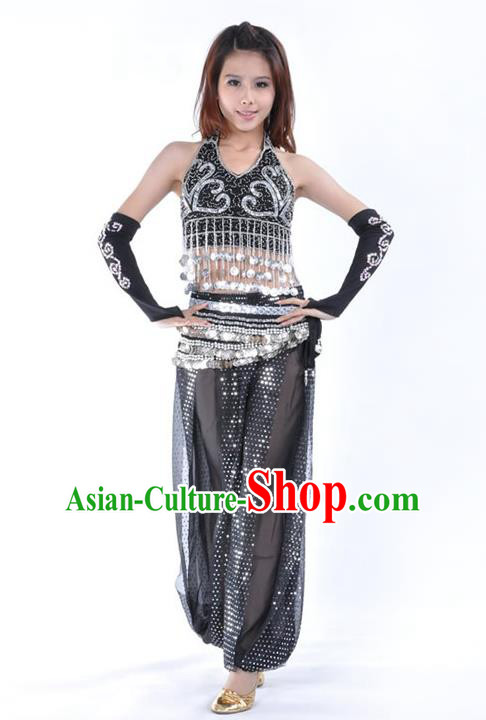 Traditional Indian Stage Performance Black Uniforms Oriental Belly Dance Costume for Women