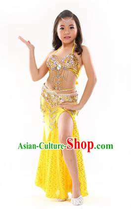 Traditional Indian Children Performance Oriental Dance Yellow Dress Belly Dance Costume for Kids