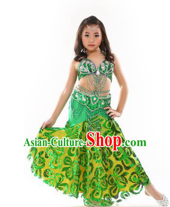 Traditional Indian Children Performance Oriental Dance Green Dress Belly Dance Costume for Kids