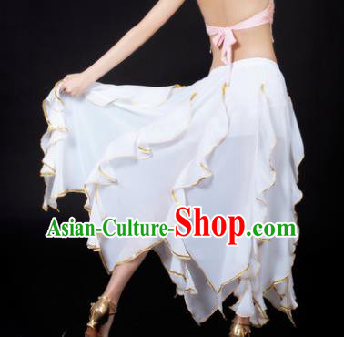 Traditional Indian Belly Dance White Ruffled Skirt India Oriental Dance Costume for Women