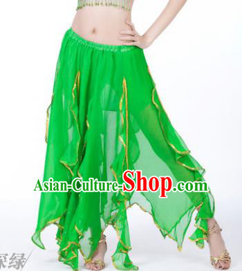 Traditional Indian Belly Dance Green Ruffled Skirt India Oriental Dance Costume for Women