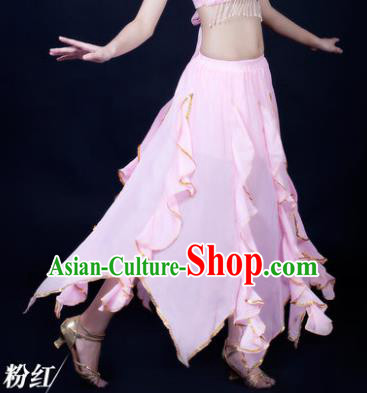 Traditional Indian Belly Dance Pink Ruffled Skirt India Oriental Dance Costume for Women