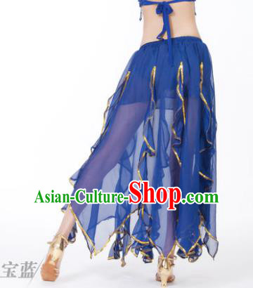 Traditional Indian Belly Dance Deep Blue Ruffled Skirt India Oriental Dance Costume for Women