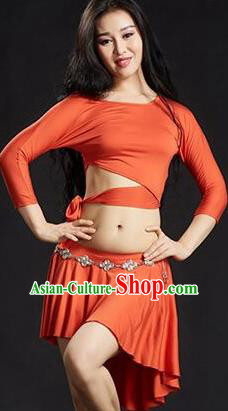 Traditional Indian Yoga Performance Orange Uniforms Oriental Dance Belly Dance Costume for Women