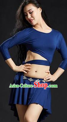 Traditional Indian Yoga Performance Blue Uniforms Oriental Dance Belly Dance Costume for Women