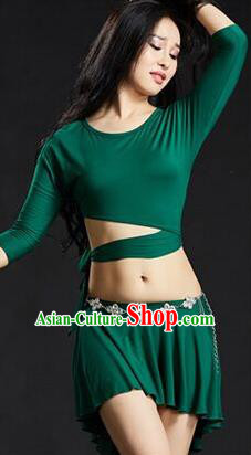Traditional Indian Yoga Performance Green Uniforms Oriental Dance Belly Dance Costume for Women