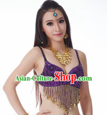 Indian Belly Dance Flowers Purple Brassiere Asian India Oriental Dance Costume for Women