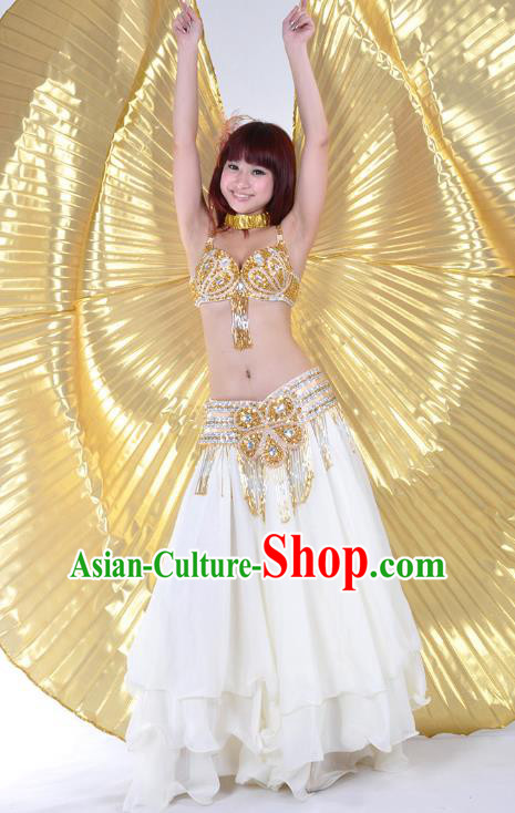 Indian Belly Dance Stage Performance Costume, India Oriental Dance White Dress for Women