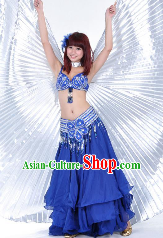 Indian Belly Dance Stage Performance Costume, India Oriental Dance Royalblue Dress for Women