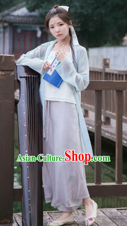 Traditional Chinese Ancient Song Dynasty Young Lady Costume Embroidered Blouse and Pants for Women