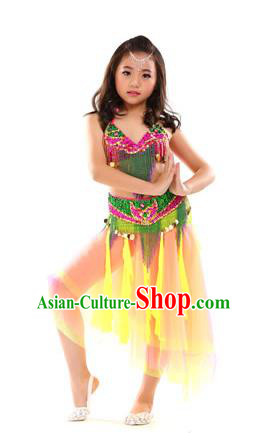 Traditional Oriental Dance Green and Yellow Dress Indian Belly Dance Costume for Kids