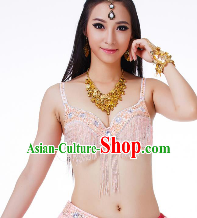 Traditional Belly Dance Pink Tassel Brassiere Upper Outer Garment Indian Oriental Dance Costume for Women