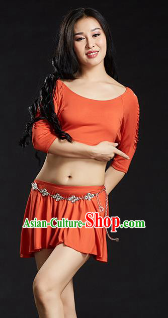 Traditional Oriental Yoga Dance Orange Costume Indian Belly Dance Clothing for Women