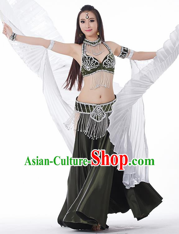 Traditional India Oriental Bollywood Dance Velvet Costume Indian Belly Dance Olive Green Dress for Women