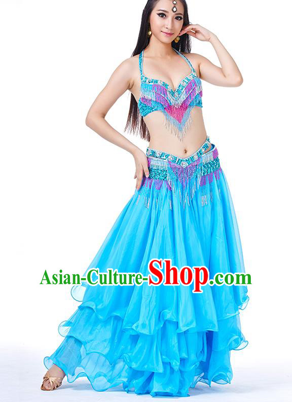 Traditional Oriental Bollywood Dance Costume Indian Belly Dance Blue Dress for Women