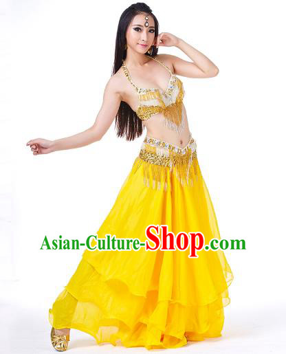 Traditional Oriental Bollywood Dance Costume Indian Belly Dance Yellow Dress for Women