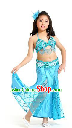 Traditional Children Oriental Bollywood Dance Costume Indian Belly Dance Blue Dress for Kids