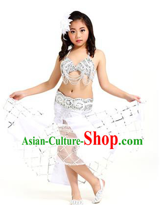 Traditional Children Oriental Bollywood Dance Costume Indian Belly Dance White Dress for Kids