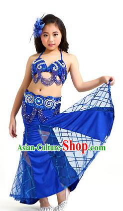 Traditional Children Oriental Bollywood Dance Costume Indian Belly Dance Royalblue Dress for Kids