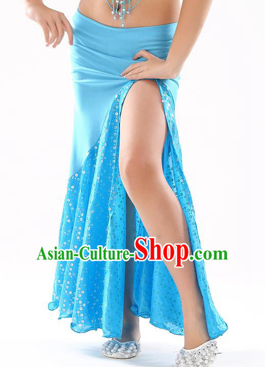 Traditional India Oriental Bollywood Dance Blue Skirt Indian Belly Dance Costume for Kids
