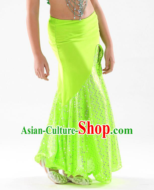 Traditional India Oriental Bollywood Dance Green Skirt Indian Belly Dance Costume for Kids